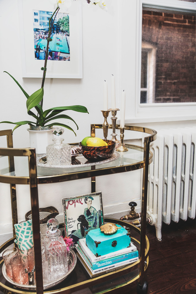 bar cart mini bar apartment better decorating bible blog gold tortoise Eclectic-Living-Room