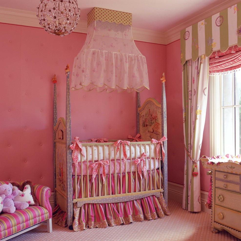 girls baby room pink ribbons how to better decorating bible blog chandelier canopy bed Traditional-Nursery