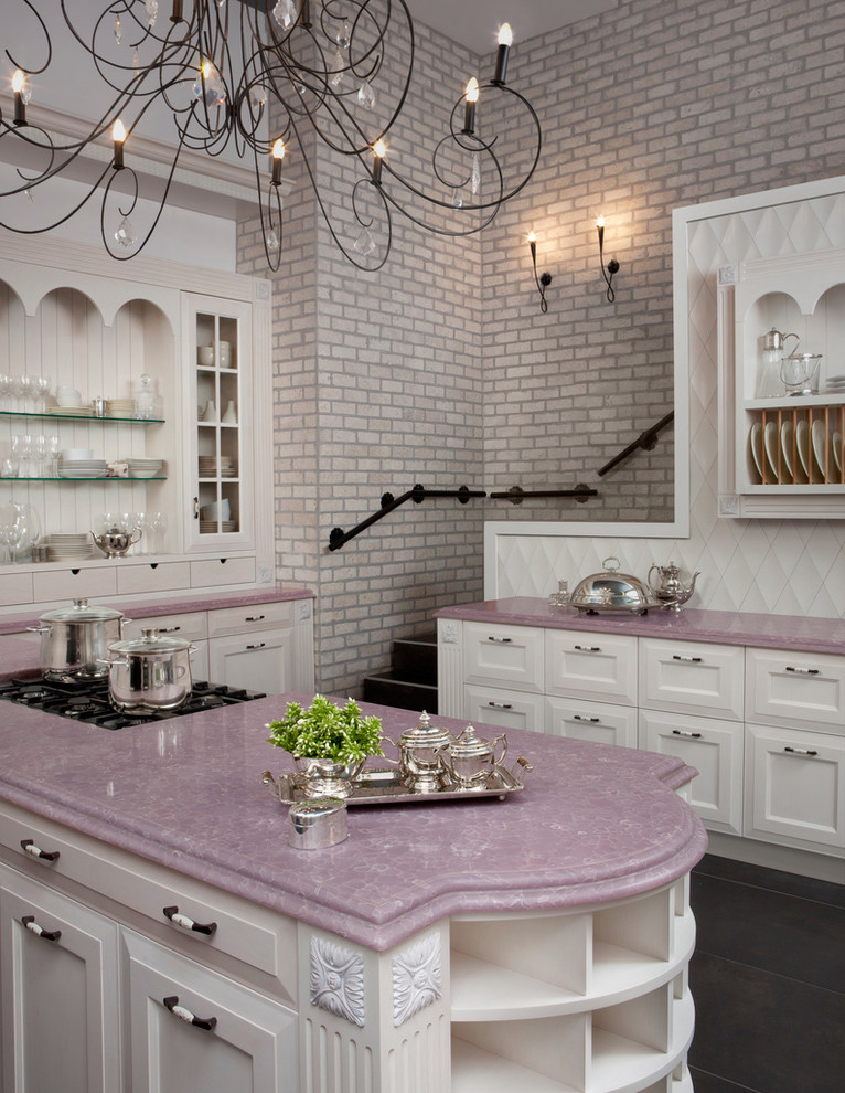 pink kitchen marble countertops brick wall better decorating bible blog silverware Traditional-Kitchen