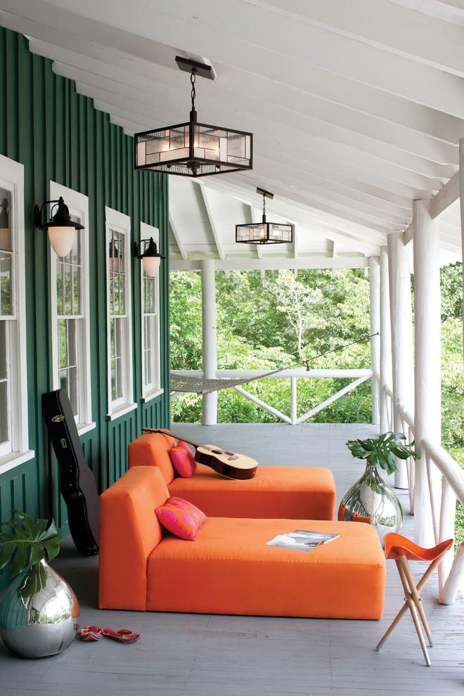 orange decor sofas hanging lights tropical decorating Traditional-Porch