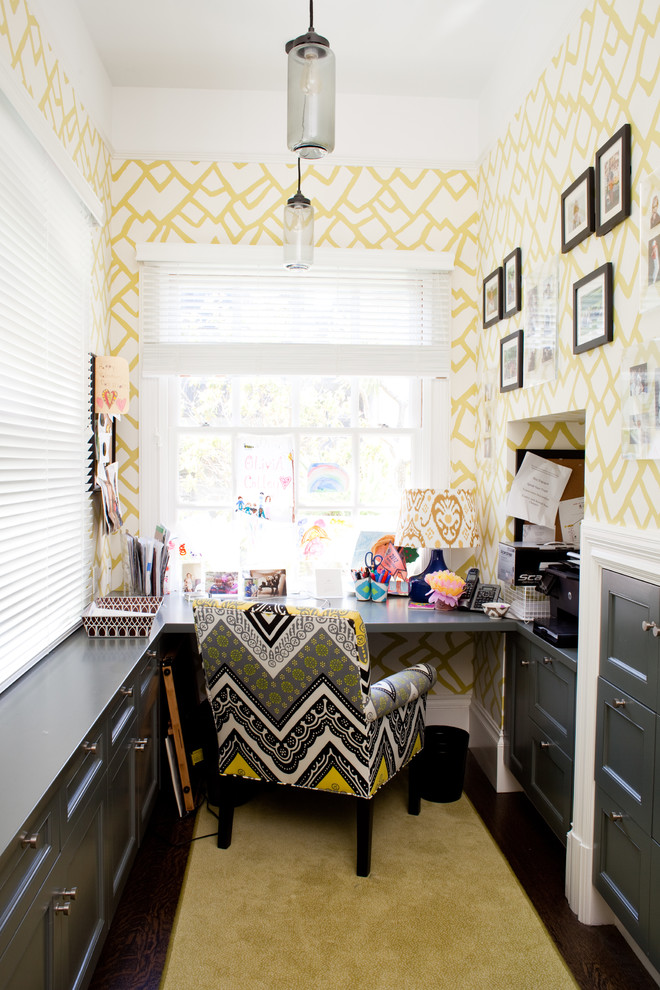 small yellow wallpaper electic Contemporary-Home-Office