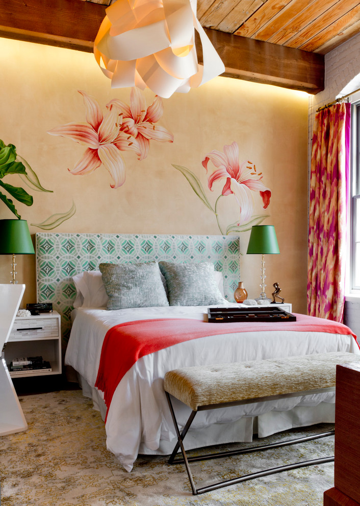 1 ikat pink print curtains girly bedroom bed red throw headboard upholstered paper lamp  white brick walls decorating