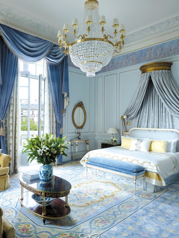 A Pink Gold And Light Blue Castle Room