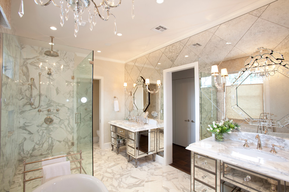 bathroom mirror tiles diamond diagnol chandelier mirrored vanity antique spounge paint marble decorating