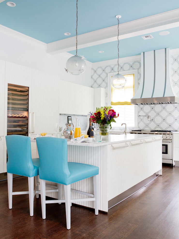 blue ceiling white kitchen aqua blue stools decorating