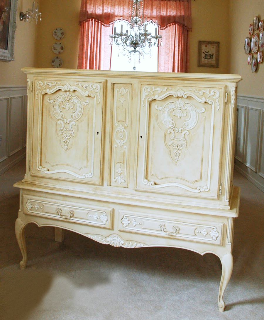 Chalk Painted Cabinet French Gold White Decorating Moldings Intricate  Better Decorating Bible Blog