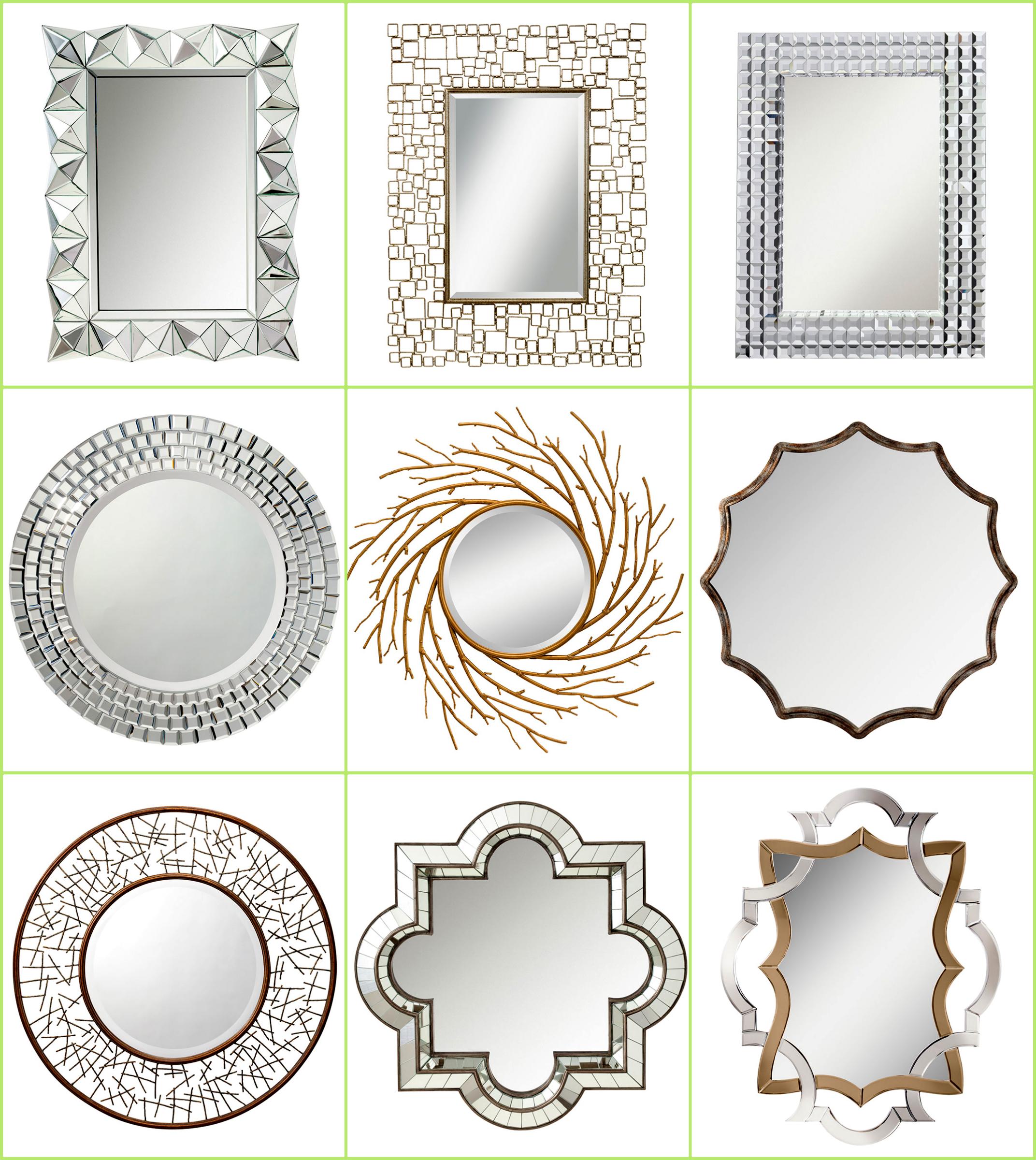 Gold Silver Sparkle Diamond Crystal Mirrors Sun Burst Decor