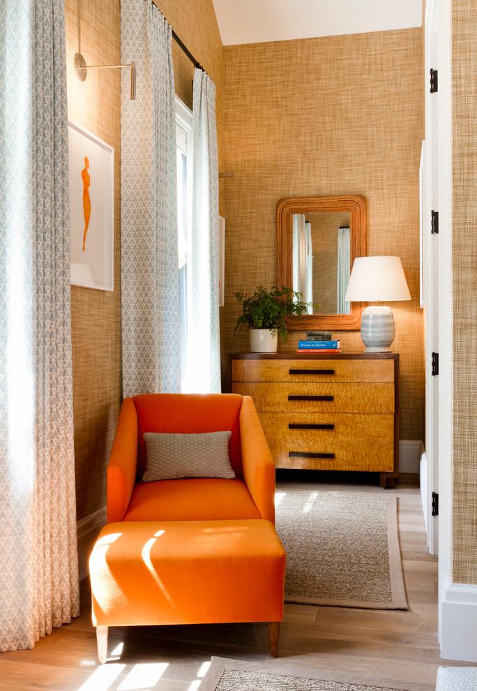 grass wallpaper sisal rug orange arm chair foot rest decorating