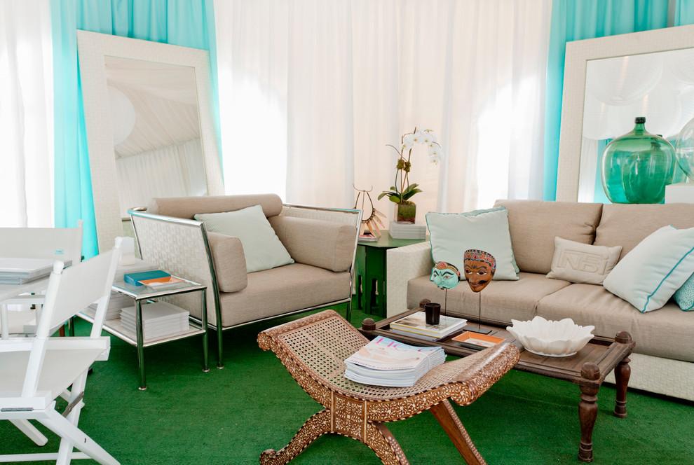 green carpet living room decor beach style tiki