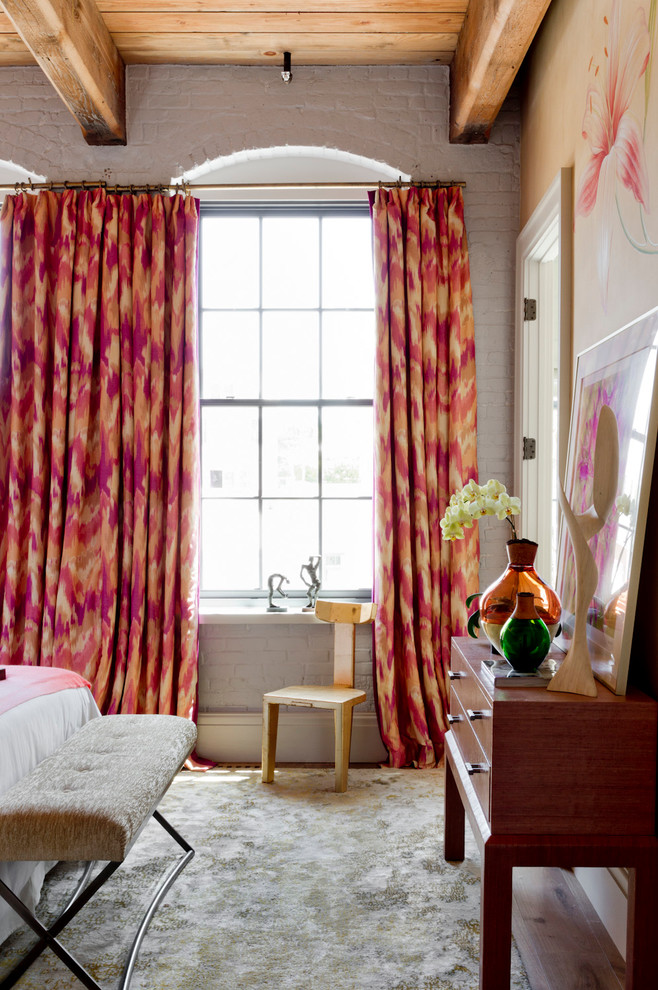 ikat pink print curtains girly bedroom white brick walls decorating