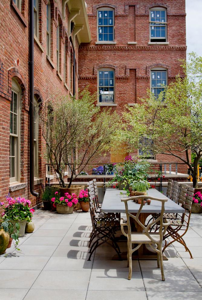 loft terrace roof garden trees flowers dining set apartment city