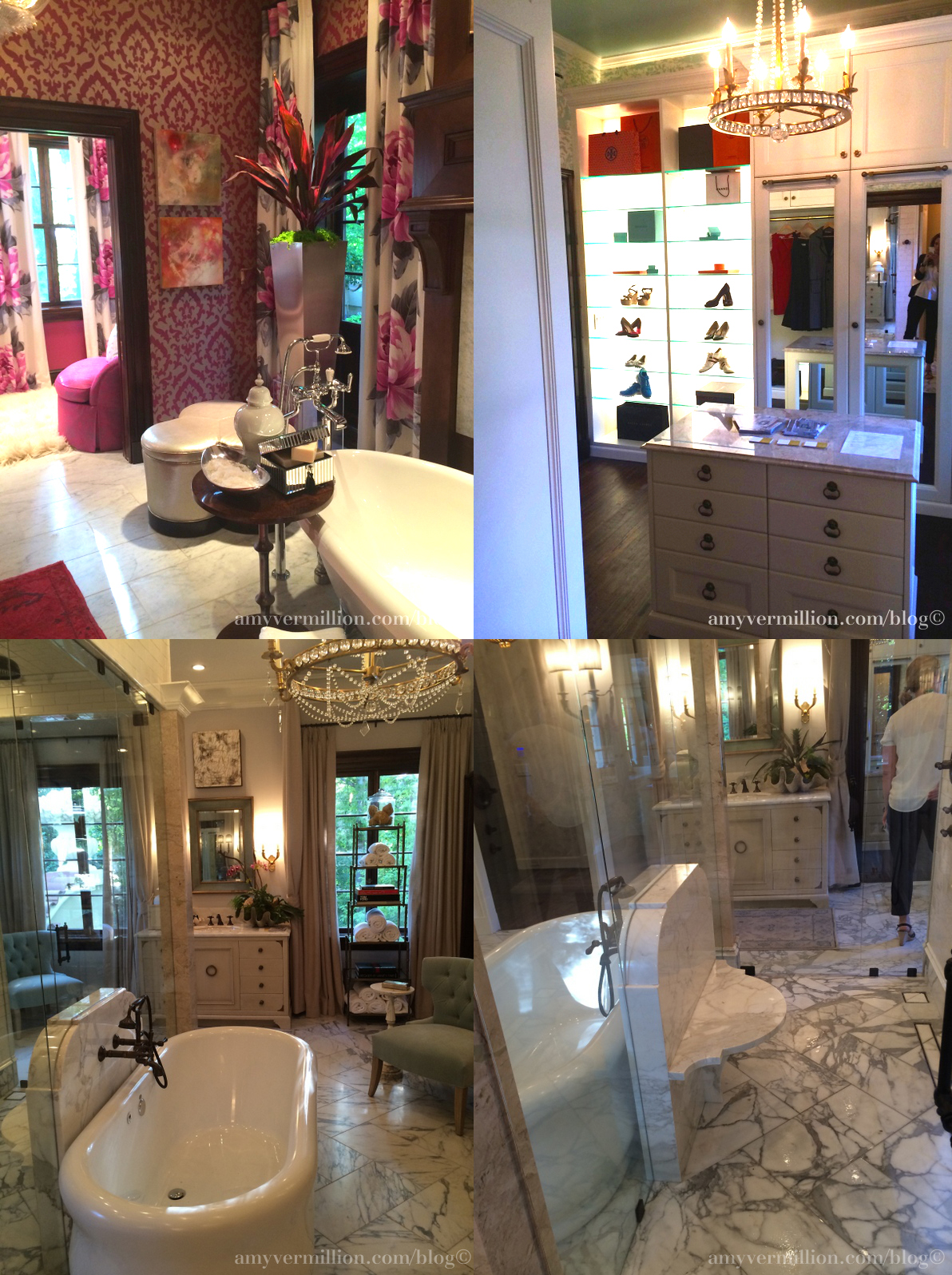 palazzo rosa atlanta decorators show house and gardens interiors better decorating bible southern mansion pink walls flower curtains dresing room pretty girly bathroom marble tiles huge bathrub mirroed wall