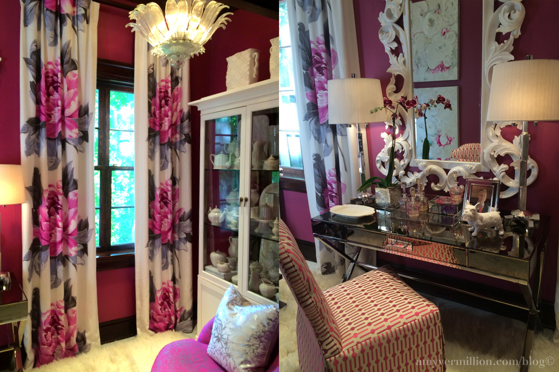 palazzo rosa atlanta decorators show house and gardens interiors better decorating bible southern mansion pink walls flower curtains dresing room pretty girly