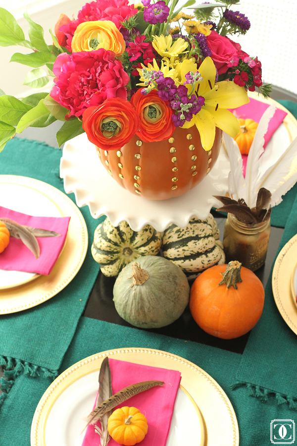 dining table thanksgiving decor squash pumpkins studs make pumpkin into planter how to