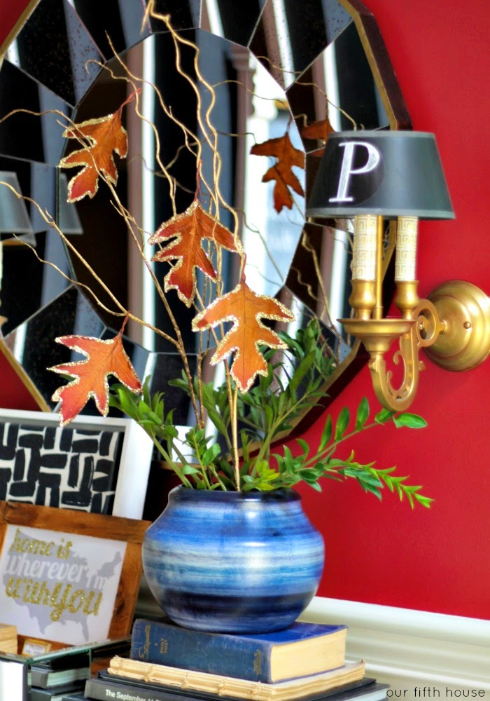 fall centerpiece leaves decorating ideas sparkle diy