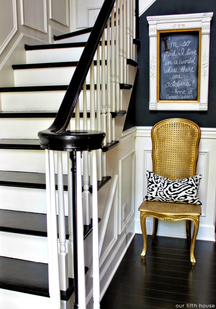 fall decorating home tour ideas gold painted chair stairs black walls
