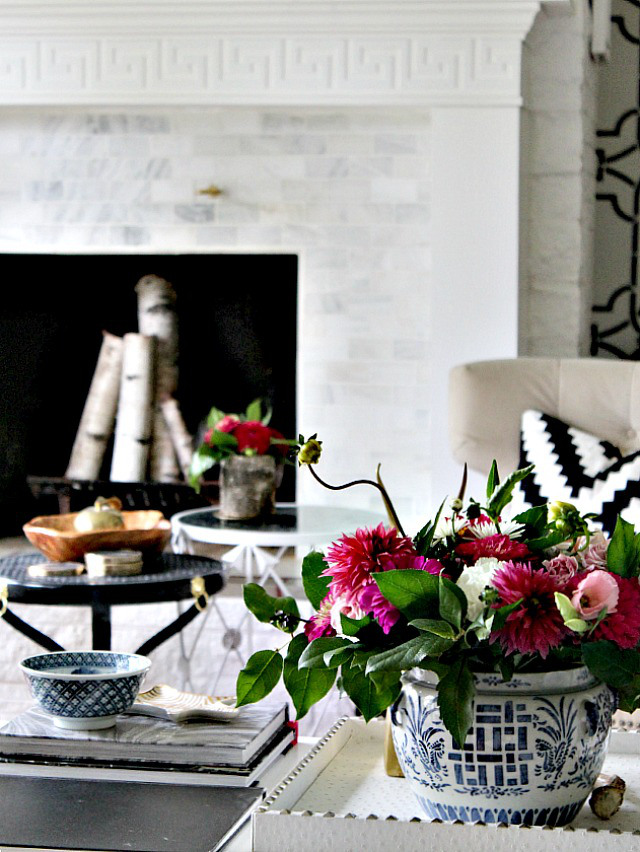 fall home tour greek key fireplace blue white cina vase zebra tray better decorating bible blog
