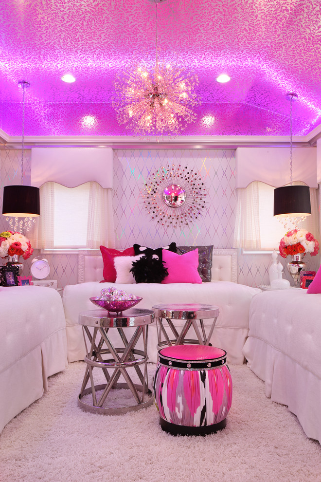 pink sparkle damask wallpaper ceiling decor