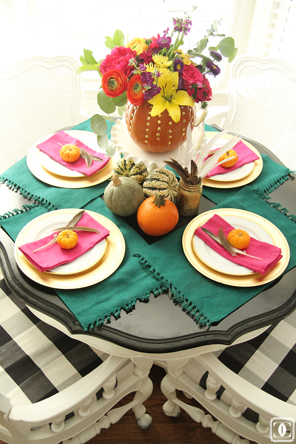 thanksgiving fall home tour dining table decor squash centerpiece