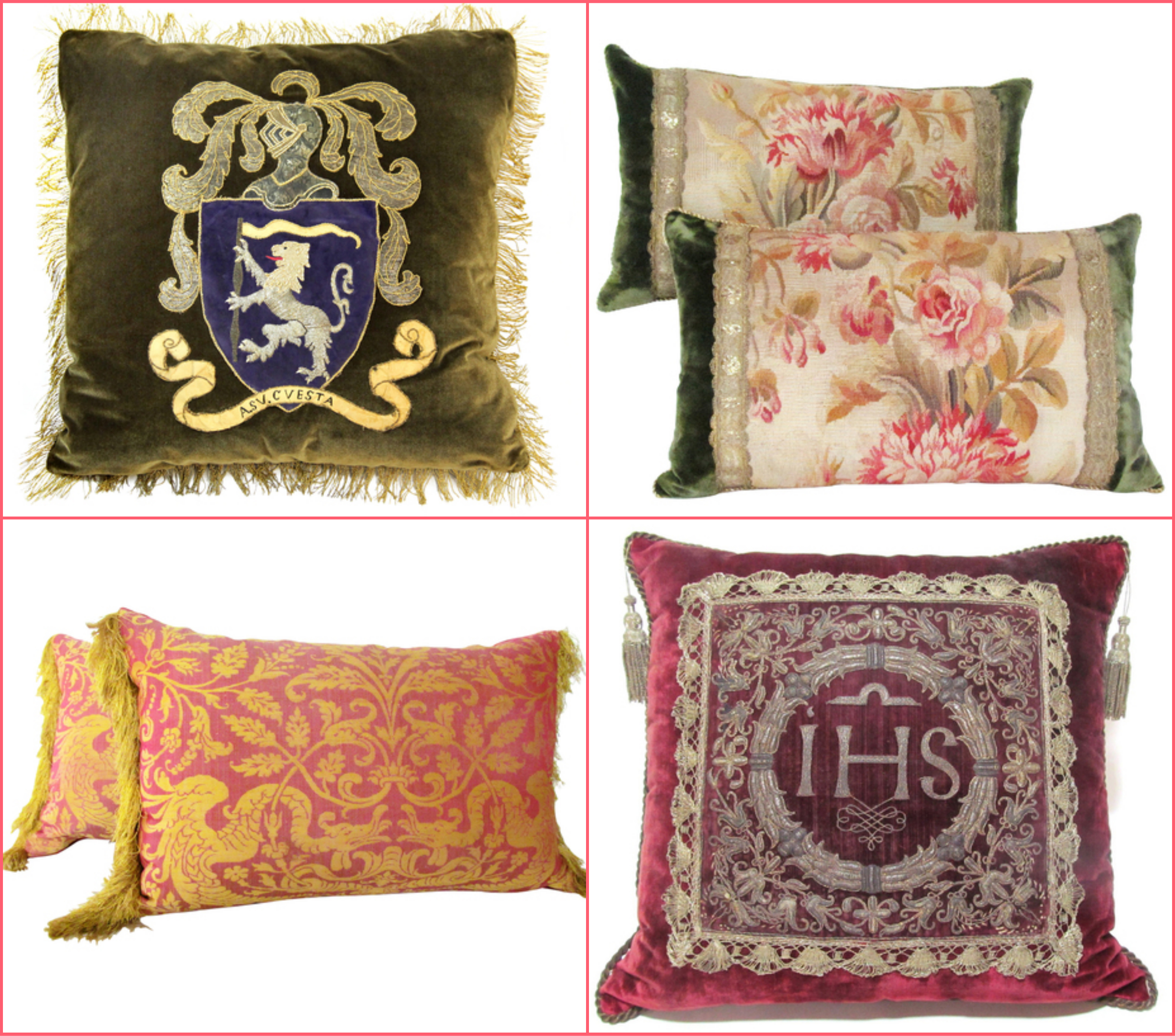 the high by online antique shop store site like first dibs century louis xvi frenh italian fringe gold pink green emerald velvet cushions pillows better decorating bible blog