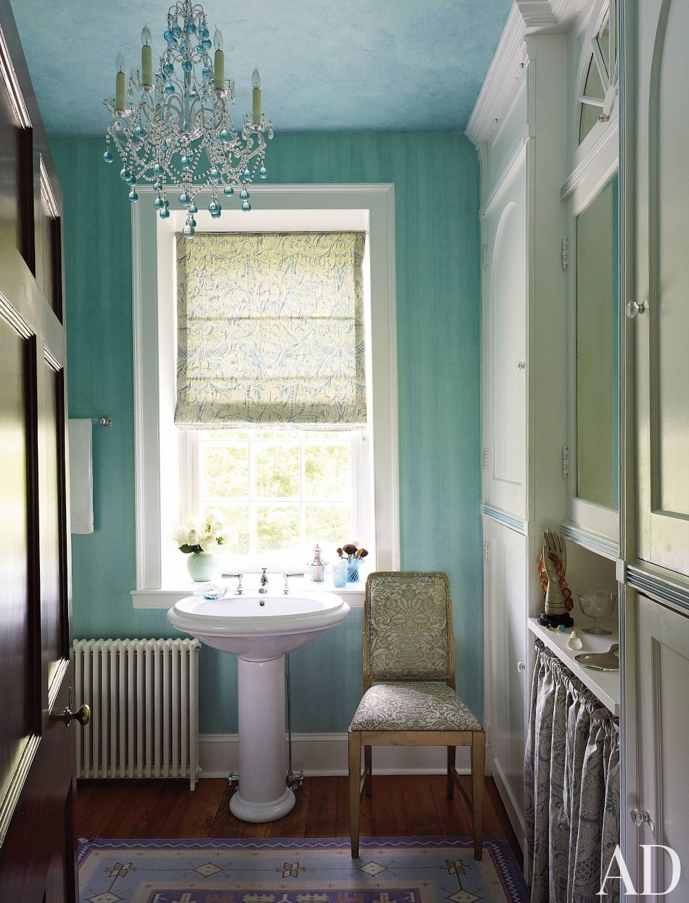 blue striped bathroom chandelier cloud ceiling better decorating bible blog ideas radiator cast iron