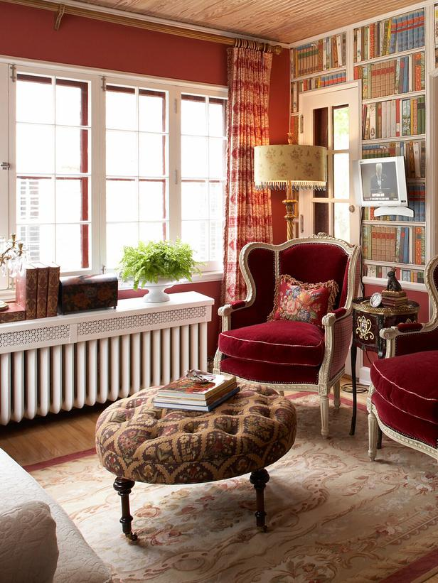 red living room english style china red walls better decorating bible blog bookcase bookshelf wallpaper fake