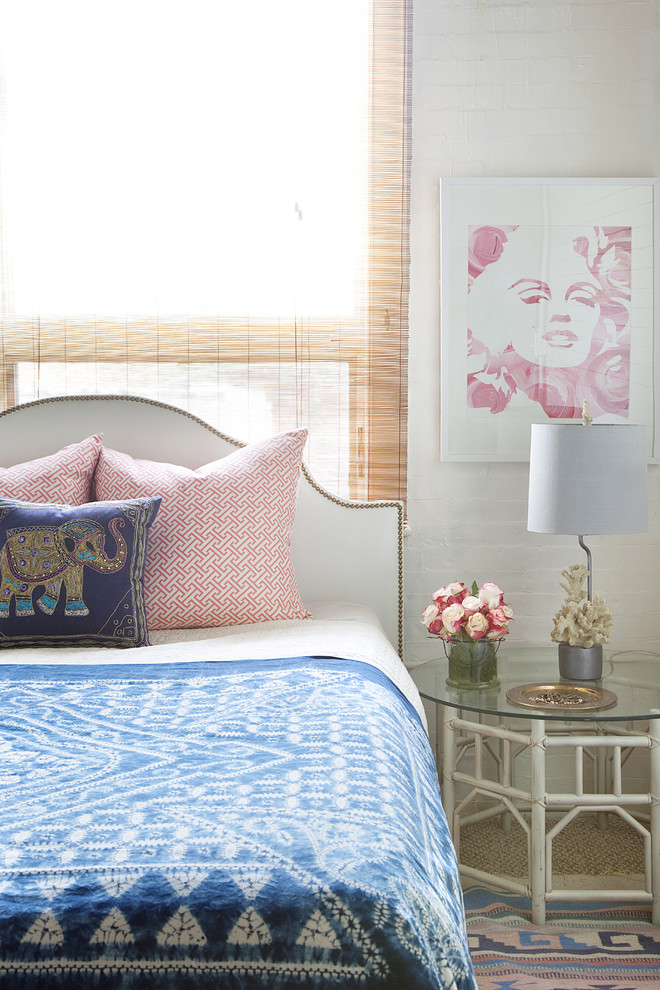 rattan side table marilyn monroe painting studded headboard