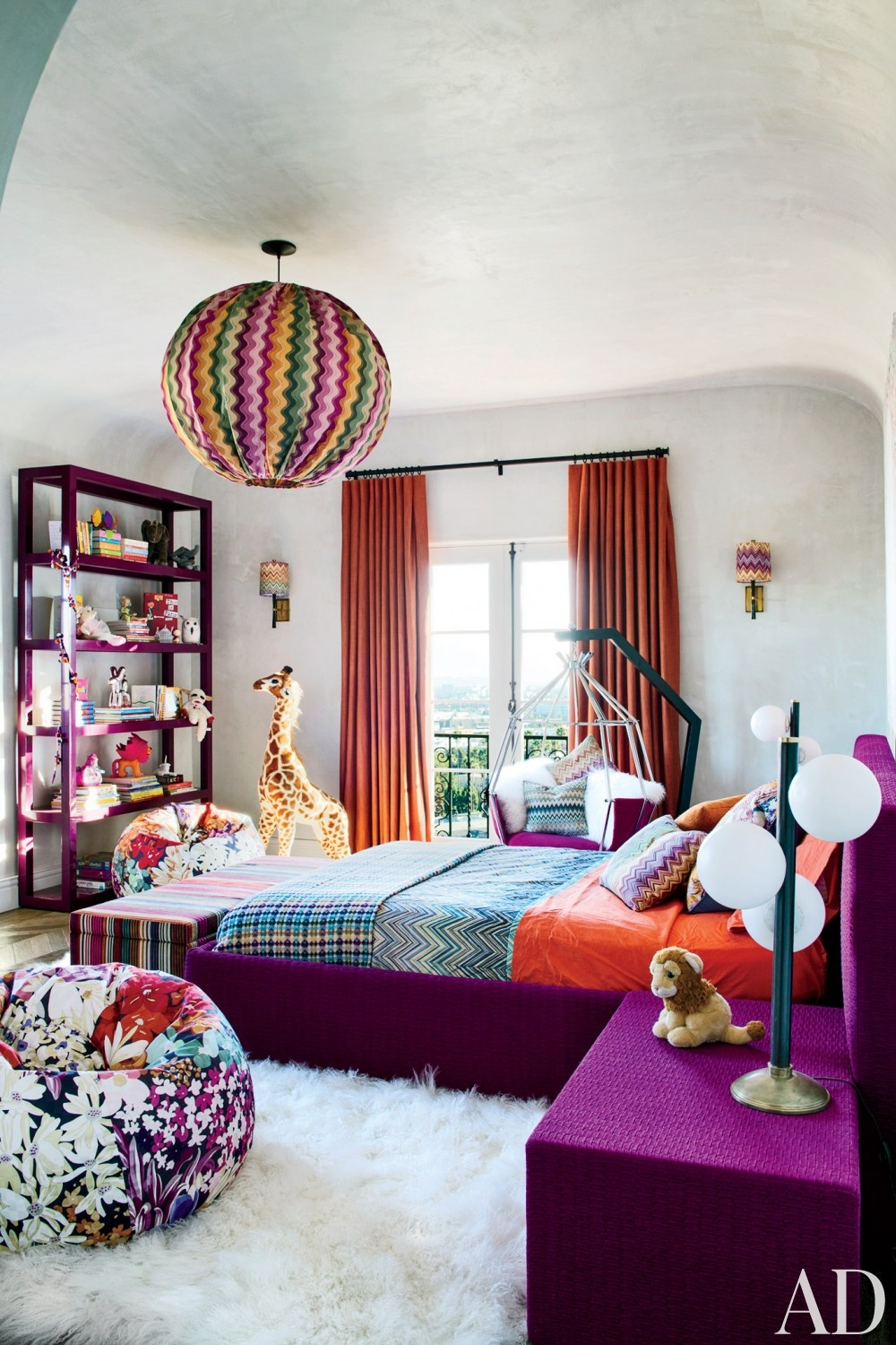 bedroom fluffy sheep rug purple velvet bed chevron bedding kids room better decorating bible blog ideas interiors orange curtains purple bookshelf beanbag floral chair