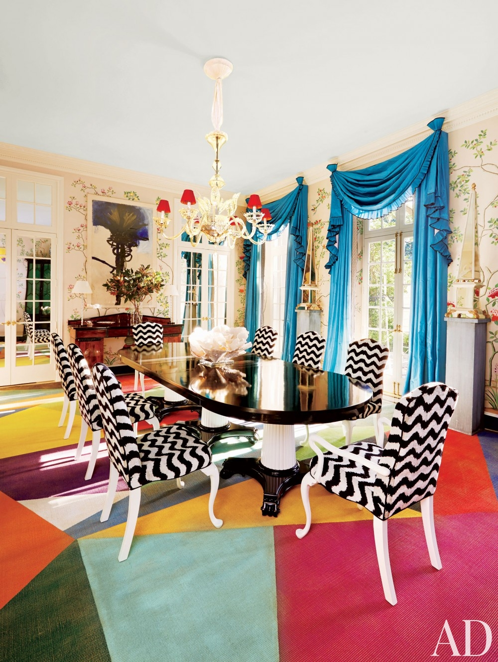 colorful geometric rug black white dining chairs room pillar table black laquered finish better decorating bible blog cinoiserie mural painted walls
