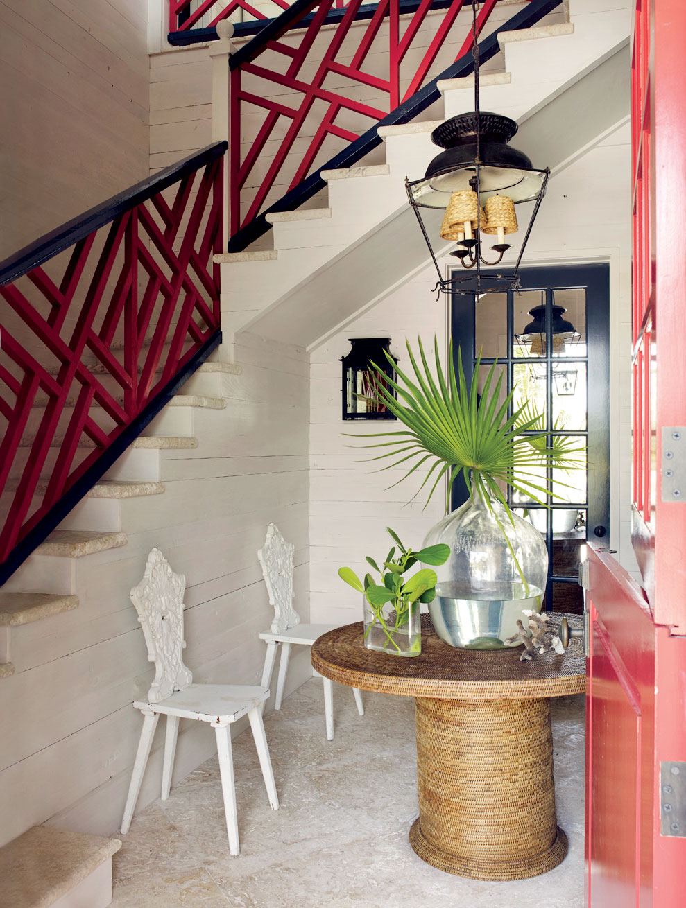 entrance beach house chinese asian inspired stairs railing better decorating bible blog interior decor palm leaf in vase