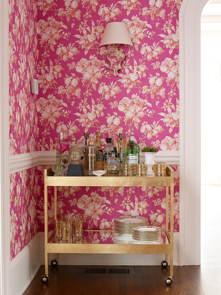 flower pink wallpaper gold bar cart better decorating bible blog interior ideas