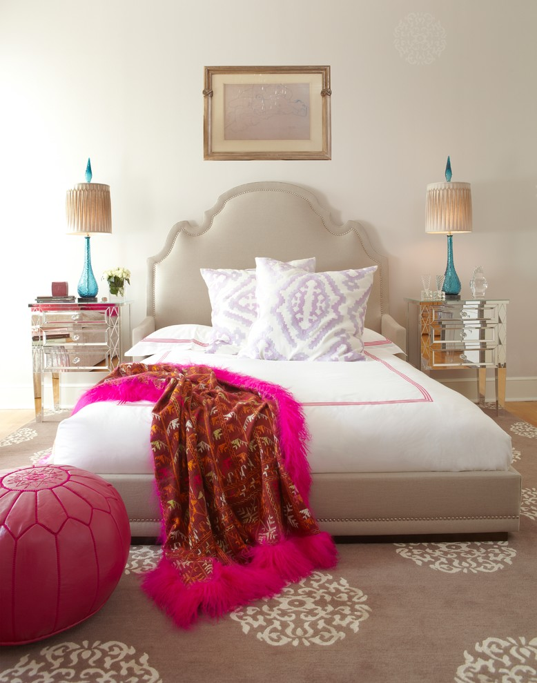 guest bedroom decor moroccan style headboard pink ostrich feather fur throw leather pink puff mirrored side tables better decorating bible blog ideas guest bedroom