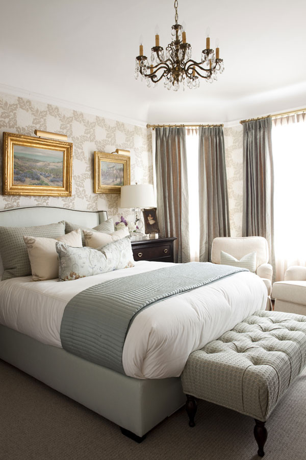guest bedroom how to decorate traditional chandelier green gray taupe bed spread sheets end bend sliky curtains gold picture frames black dresser carpetting better decorating bible blog