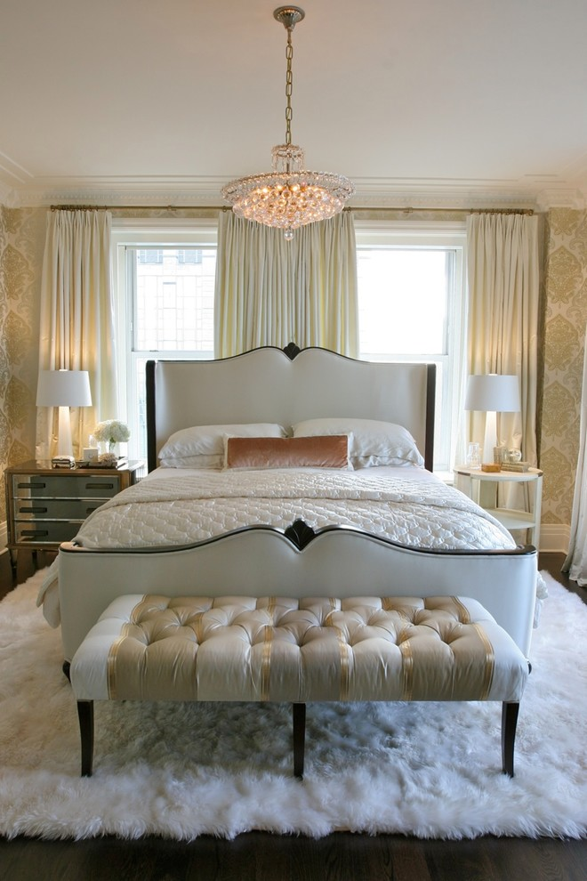 guest bedroom queen anne frame tufted end bench ideas plush white lamb fur rug carpet damask metallic wallpaper better decorating bible blog ideas