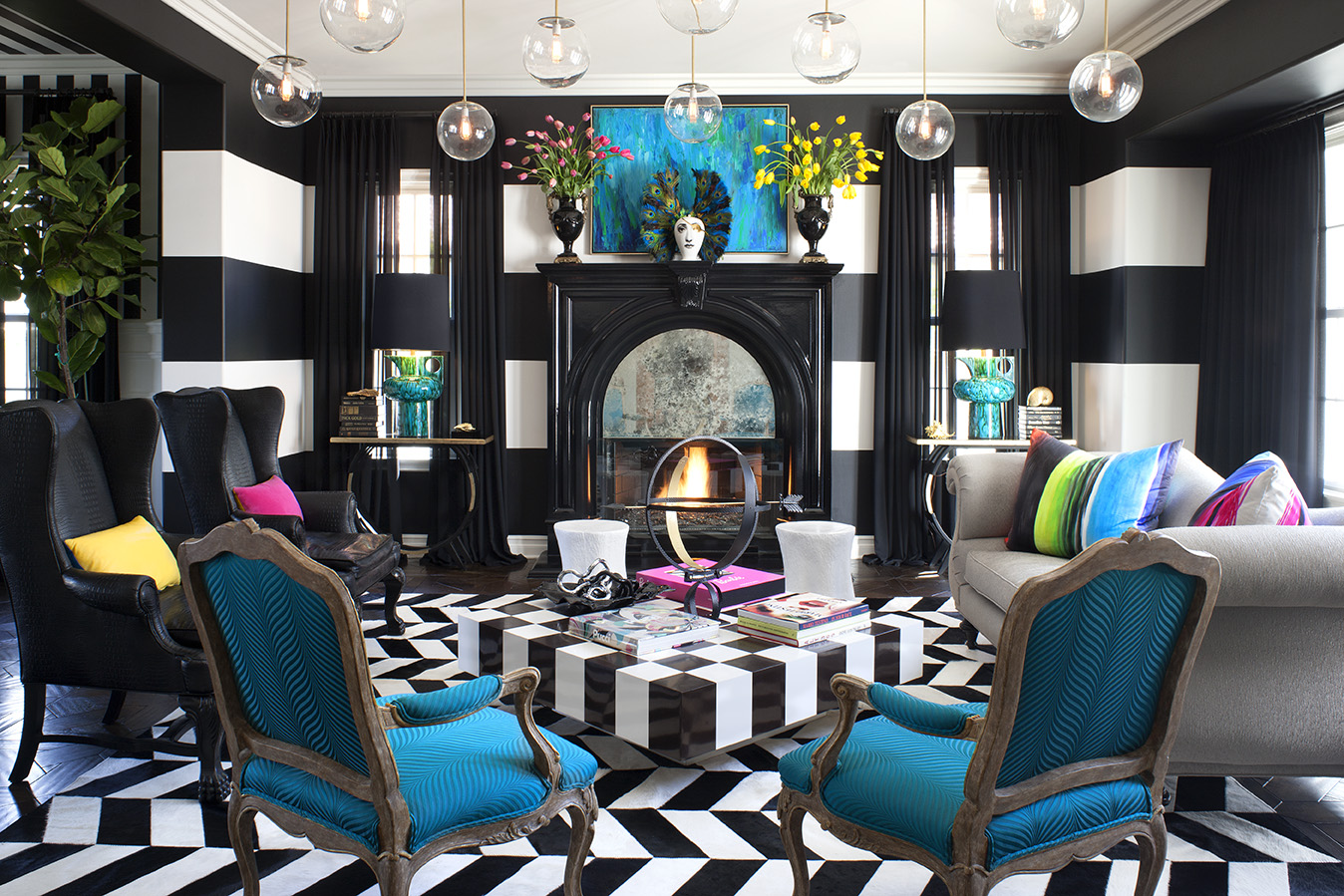 kourtney kardashians celebrity living room better decorating bible blog checkered coffee table striped walls black white blue grey