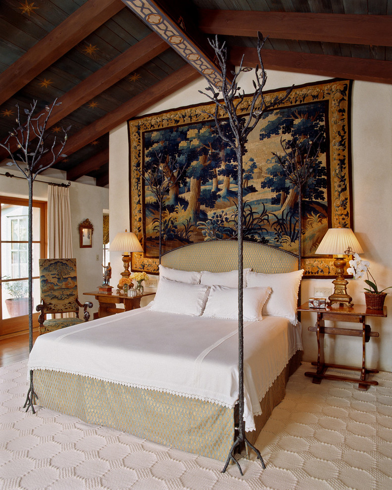 mediterranean-bedroom tapestry as headboard better decorating bible blog rustic style