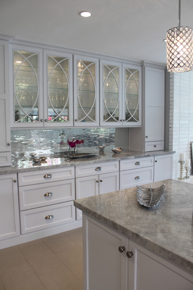 Mirrored Tiles Backsplash Kitchen White Kim Kardashian Kris Jenner Style Glam