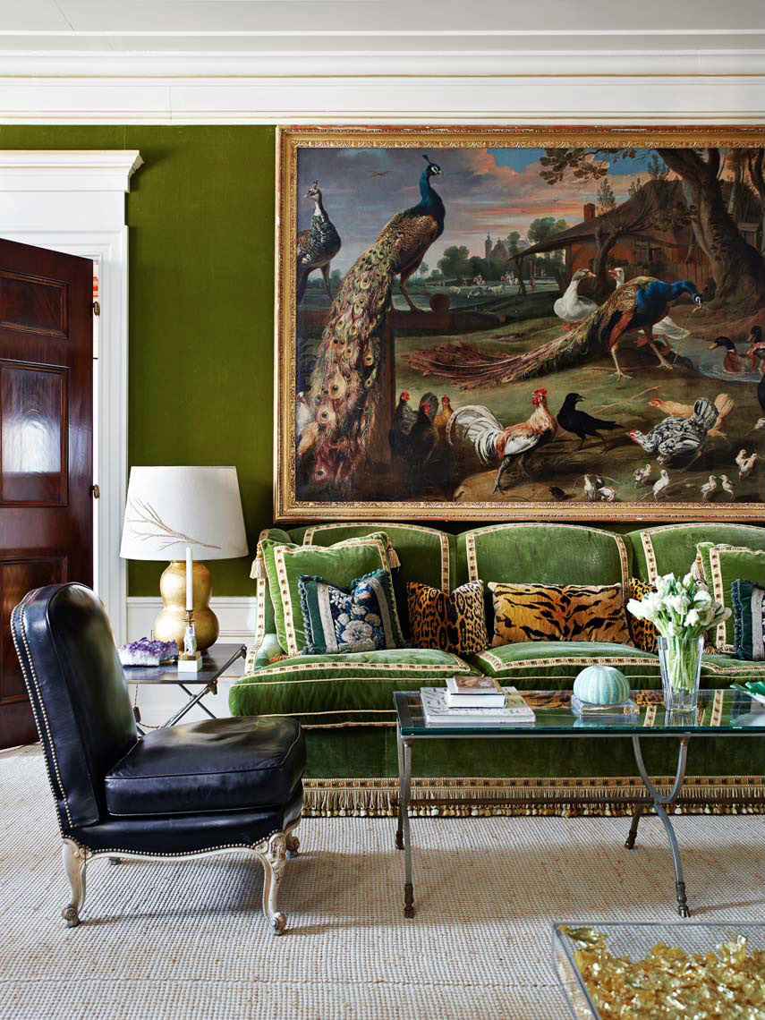 tory burch living green room couch gold tassels celebrity style better decorating bible blog inside sneak peak home tour