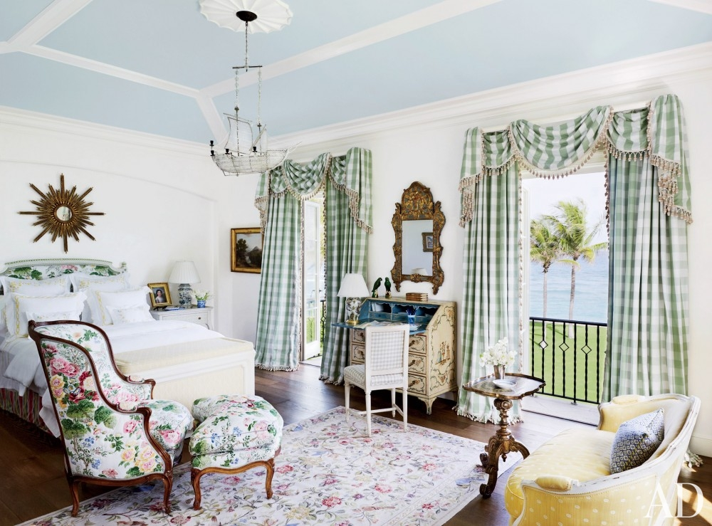 traditional-bedroom-david-easton-inc-palm-beach-florida blue ceiling french country style green checkered curtains yellow provincial love seat