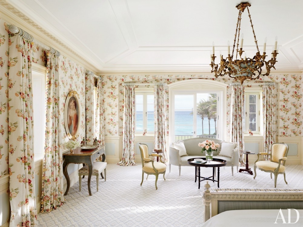 traditional-bedroom-david-easton-inc-palm-beach-florida french decorating furniture wallpaper floral flowers curtains girly kische