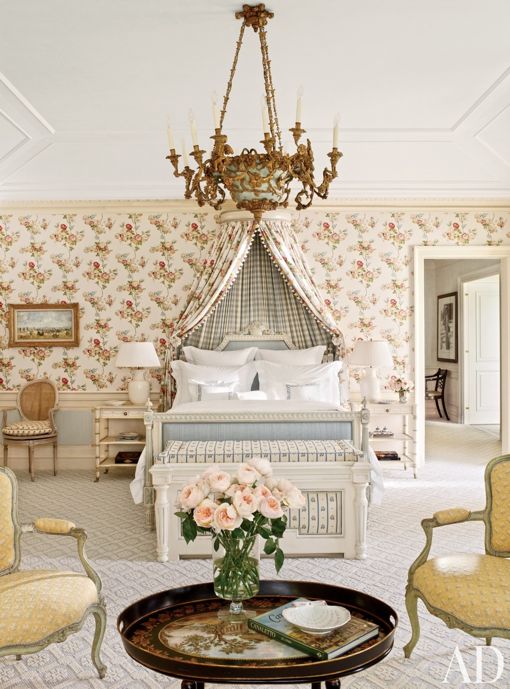 traditional-bedroom-david-easton-inc-palm-beach-florida french provincial decorating floral flowers wallpaper fold chandelier queen anne chairs
