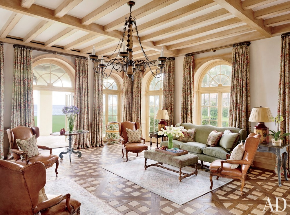 traditional-living-room-david-easton-inc-palm-beach-florida beam ceiling rustic mediterranean room inlay hardwood floor better decorating bible blog