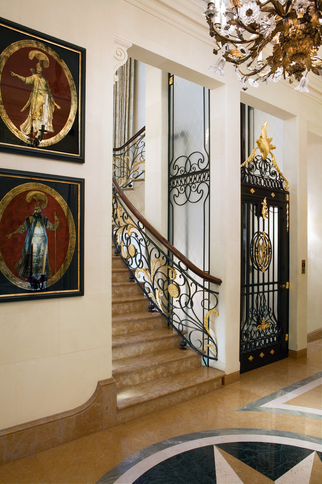 traditional-staircase gold railing luxury decor alidad