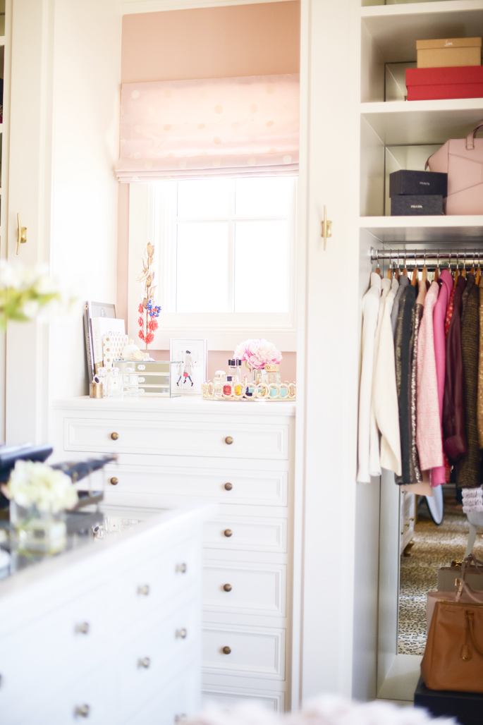 11 dream closet office leopard carpet white gold desk chandelier mirrored shelves tour better decorating bible blog ideas gold knobs chic girly walk in closet wardrobe
