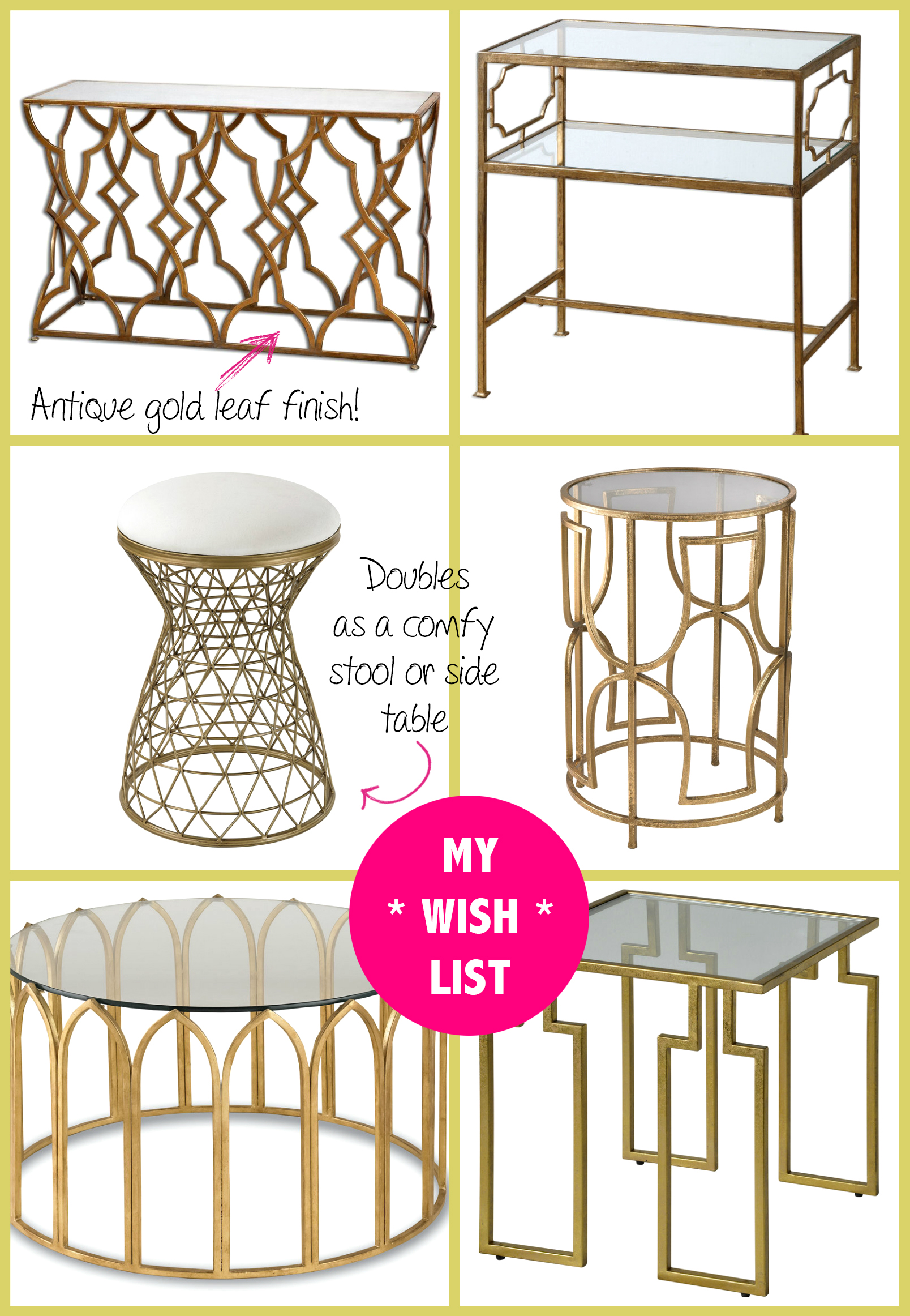 Spring shopping my new gold mirrored table from build for Home decor stuff online