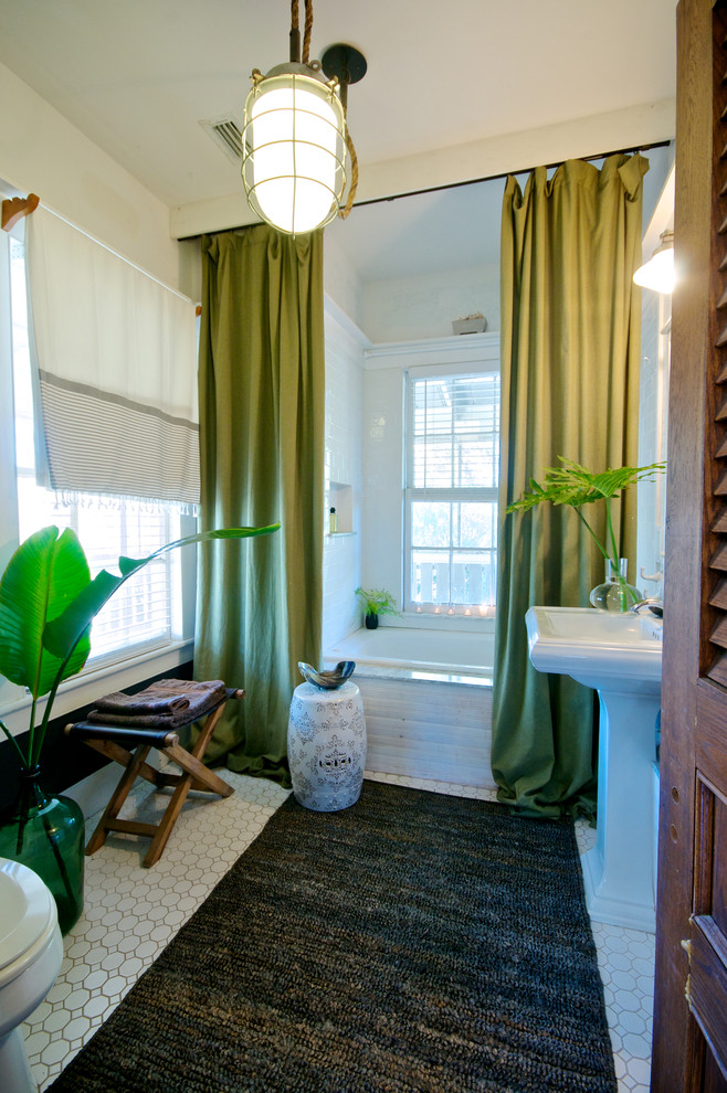 Add Long Curtains Around Your Bathtub