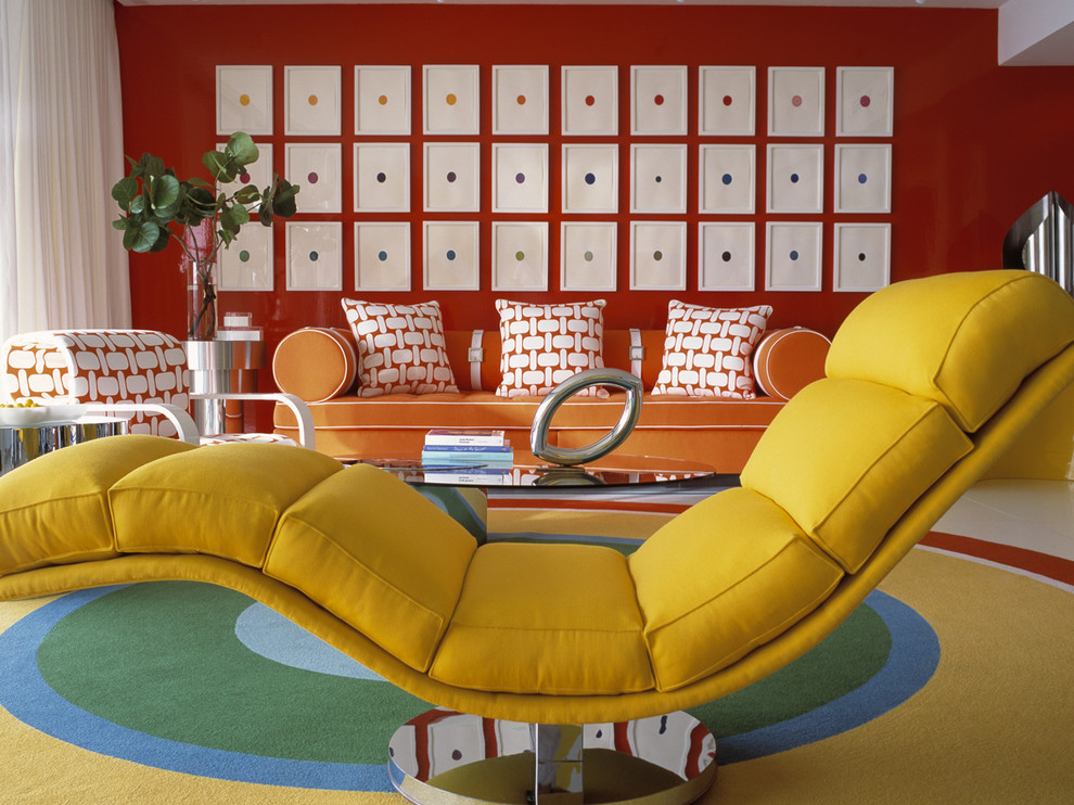 color blocking vintage retro living room orange yellow sofa red walls fads furniture better decorating bible blog ideas geometric rug
