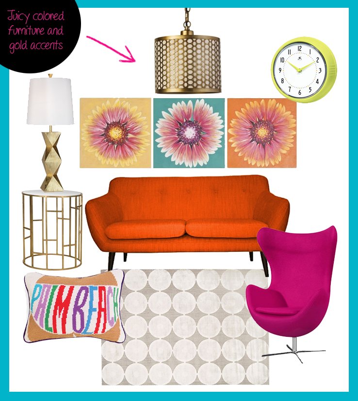 fads furniture retro decor living room better decorating bible blog ideas how to orange sofa pink arm chair neon clock gold side table lamp
