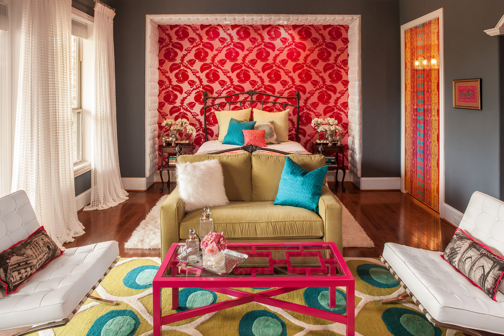 retro bedroom red pink wallpaper better decorating bible blog fuzzy pillows fads furniture