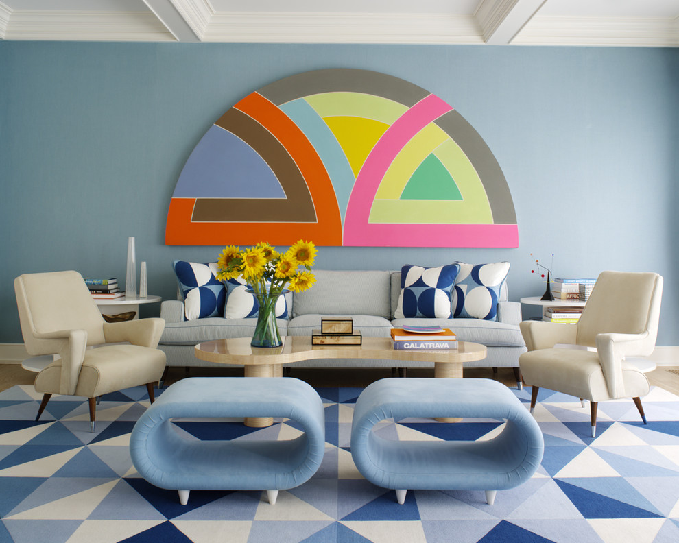 Retro Style Colorful Decorating Blue Walls 60s 50s Fads Furniture